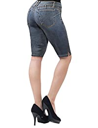 HyBrid & Company Womens Perfectly Shaping Butt Lift Stretch Bermuda Shorts
