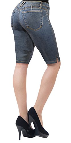 Super Comfy Stretch Bermuda Shorts B37362 Medium BLU 9