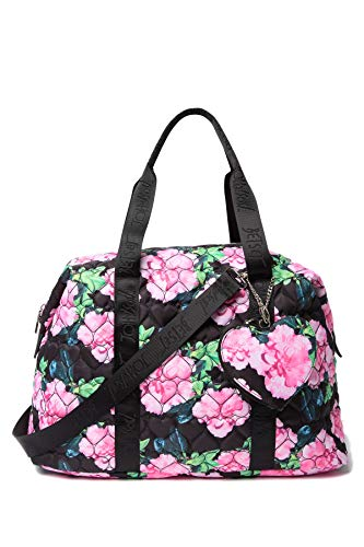Betsey Johnson Nylon Quilted Black Floral Zip Heart Pocket Charm Detail Weekender Travel Bag ()