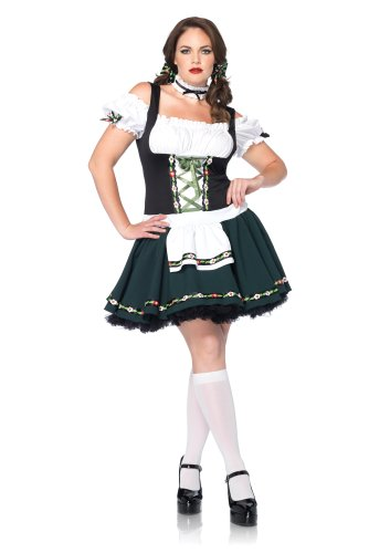 Leg Avenue Costumes Plus-Size 2Pc.Plus Size Bavarian Babe Includes Apron Dress and Choker, Black/Green, X-Large/XX-Large