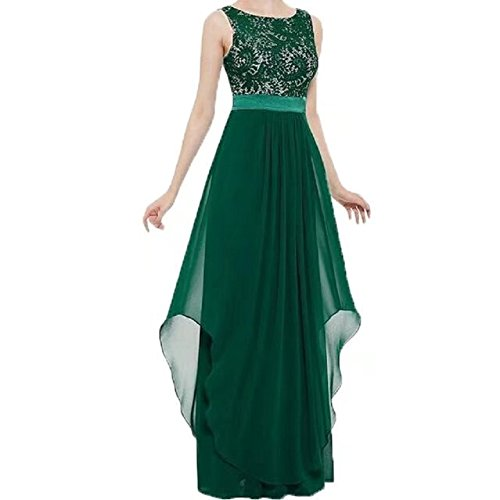 Fit Dress Lace Sleeveless Long Deep BetterGirl Flare Cocktail TM Womens Back V Chiffon Green PqwEnI7zxE