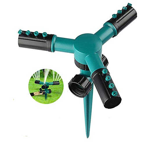 Erlsig Automatic Lawn Sprinkler 360° Rotating Adjustable Garden Water Sprinklers Cooling Irrigation System Leak Free with 3 Arms Sprayer and Max Diameter 196inches