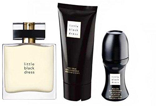 Avon Little Black Dress Parfum-Set 3tlg. Eau de Parfum Spray, Bodylotion, Deoroller in weihnachtlicher Geschenktasche