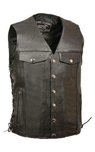 - Event Leather Men's Denim Style Vest with Zippered Pockets (Black, Medium) (SID)