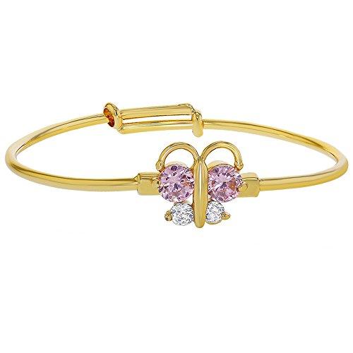 [18k Gold Plated Pink Clear Crystal Adjustable Butterfly Girls Baby Bangle Bracelet] (Gold Adjustable Baby Bangles)