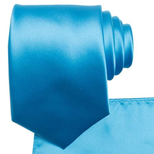 KissTies Ice Blue Necktie Set Solid Satin Tie + Pocket Square + Gift Box