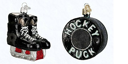 Hockey Skates and Hockey Puck set of glass blown ornaments by Old World Christmas (Ornament Blown Player)