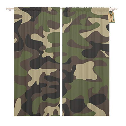 Golee Window Curtain Beige Camouflage Pattern Military Woodland Classic Masking Camo Brown Home Decor Rod Pocket Drapes 2 Panels Curtain 104 x 63 inches
