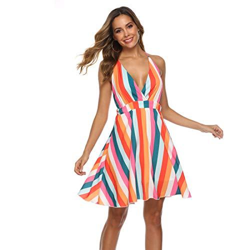 - Women Rainbow Striped Sundress with Criss Cross Spaghetti Straps Backless Chiffon Mini Dress for Summer Beach Party (Large)