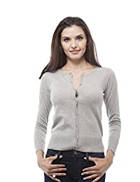 3/4 sleeve crew neck button up cropped cardigan sweater