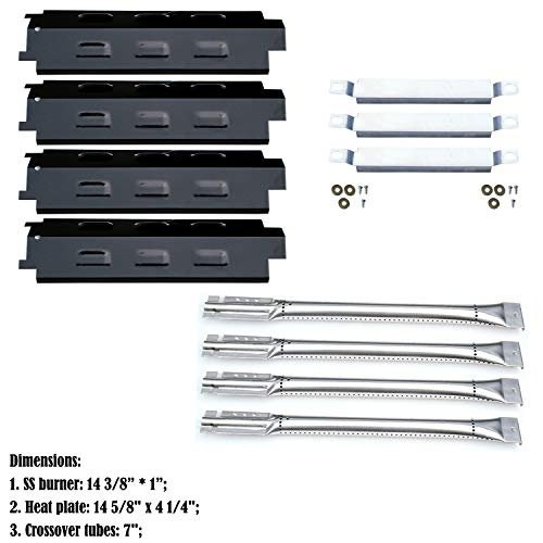 Direct store Parts Kit DG160 Replacement Charbroil 463440109 Gas Grill Repair Kit (SS Burner + SS carry-over tubes + Porcelain Steel Heat Plate)