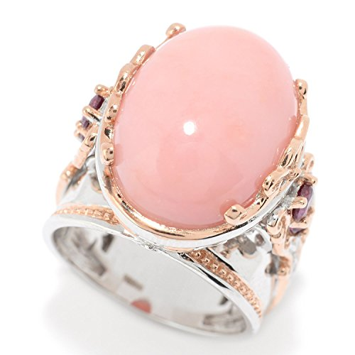Michael Valitutti Palladium Silver ICA Peru Pink Opal & Rhodolite Ring