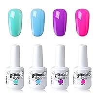 Elite99 Soak Off Gel Polish Laca UV LED Nail Art Kit de manicura 4 colores Set LM-C153 + Regalo gratis (envoltorios de removedor de gel 20pcs)