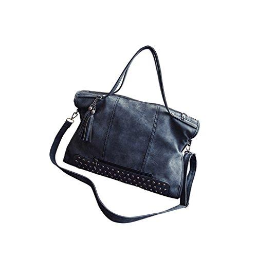 DZT1968 Women Rivet Crossbody Tassel Bag Frosted Messenger Bag Large Capacity (Black Jersey Messenger Bag)