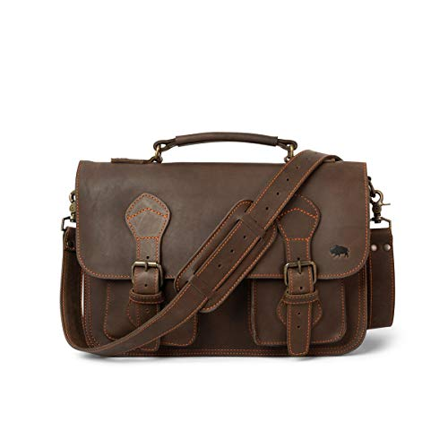 Full Grain Cow Leather Briefcase for Men | Denver by Buffalo Jackson | Fits 13