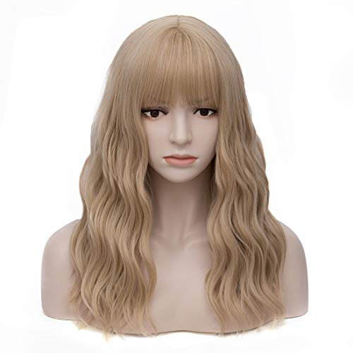 Women's Ash Blonde Wavy Wig with Bangs Middle Length Synthetic Wigs for Daily Use or Costume -