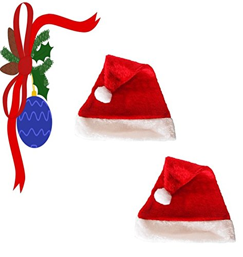 Santa Hat by Laser Hats, One Size Fits Most, Classic Red with White Plush Trim - Bundle of (Santa Muerte Costume)