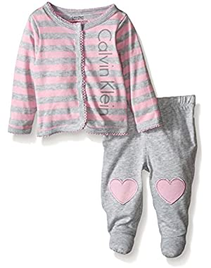 Baby Girls' Striped Cardigan and Footed Pants