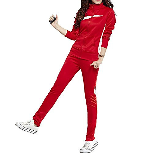 Tobyak Women's Plus Size Zip Up Stand Collar Sweatshirt Running Bottom Tracksuit RedSmall Fashion - In Shops Downtown Crossing