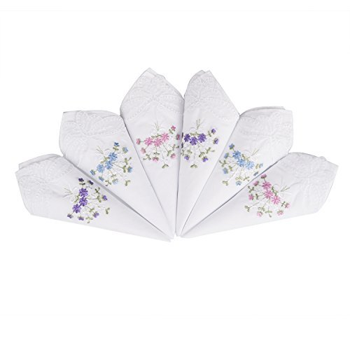 Selected Hanky Ladies/Women's Cotton Handkerchief Flower Embroidered with Lace 6 Pack - Assorted ()