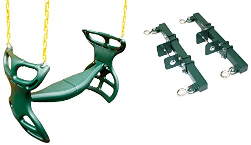 Eastern Jungle Gym Heavy-Duty Plastic Horse Glider Swing Seat Set Including Back-to-Back Glider for Two Kids and Brackets