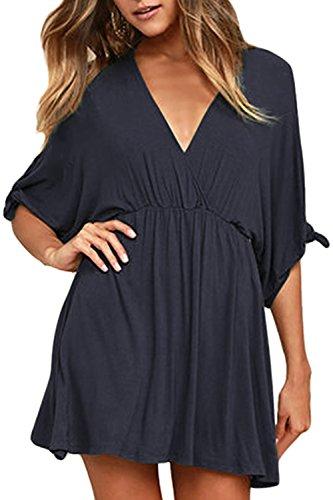 Meenew Women's Short Sleeve Empire Waist Loose Swing Casual Dress Navy Blue S