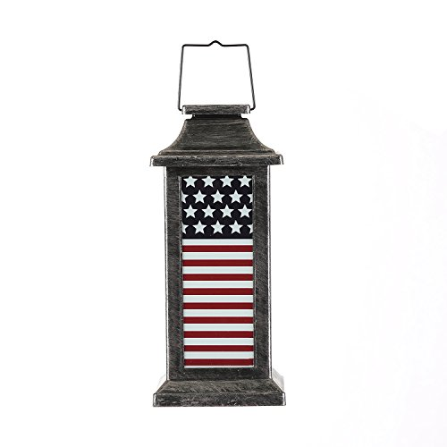 Garden Decorative Solar Lanterns Outdoor Waterproof Hanging Lamp,American Flag by Ivy Home