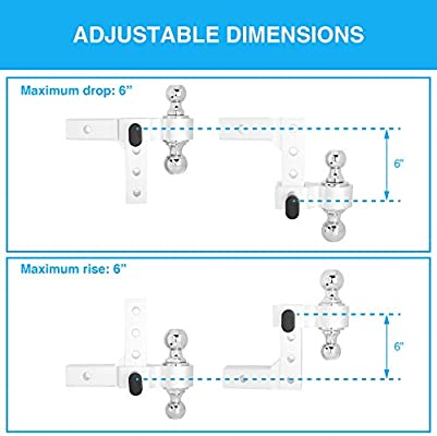 5000LBS, Matte Silver ONLTCO 2 Receiver Adjustable Trailer Truck Aluminum Towing Dual Hitch Ball Mount