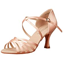 """Capezio Women's Rosa 2.5"""" Social Dance Shoe,Camel Satin,9 M US"""
