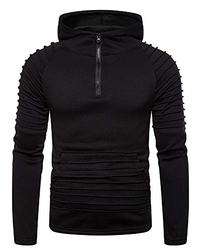 Lexiart Mens Fashion Athletic Hoodie Casual Sport Sweatshirts Solid Color Pullover Shirts Black