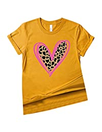 CGKUITER Womens Valentines Shirts Love Heart T Shirt Cute Leopard Valentine's Day Graphic Tees Holiday Blouse