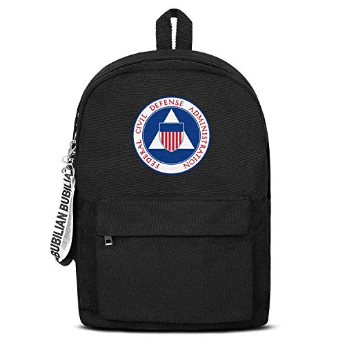 (Federal Civil Defense Administration Student's Fashion Black Letter Canvas School Backpack Hiking Bag )