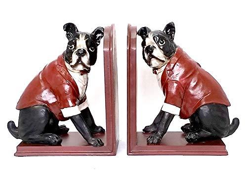 "Bellaa 21701 Bulldog Bookends Cute Dog Book Ends Statues 9"" Tall"
