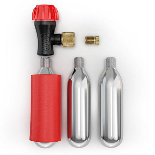 Co2 Inflator Kit With 3 Co2 Cartridges and Carrying Case, Quick & Easy, Bicycle Tire Pump for Road and Mountain Bikes, Fits Presta & Schrader Valves, Insulated Sleeve. by Bicykit (Image #3)