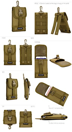 FLYHAWK Tactical Molle Pouch Mobile Phone Bag,Big Outdoor Sport bag for Samsung Note6/5/4A006-Tarnung