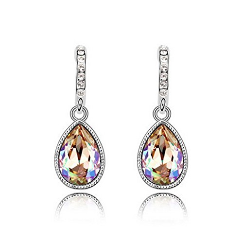 Genuine Heart Shaped Green - Alvdis Premium Water Drop Shaped Crystal Earrings - Genuine Swarovski Crystal Elements Pendant (Gold Green)