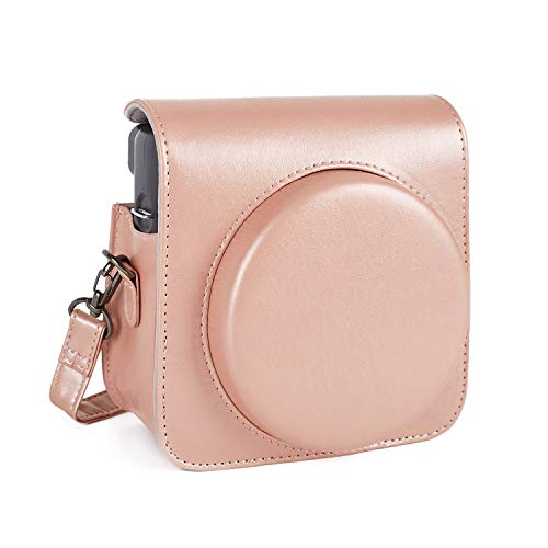 Leebotree Protective Case Compatible with Fujifilm Instax Square SQ6 Instant Film Camera,Premium PU Leather Bag with Adjustable Shoulder Strap (Blush Gold)