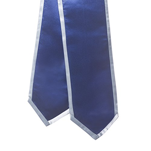Sash Trim (Graduation Honor Stoles/ Sashes with Classic End and Trim (Navy Blue w/Silver Trim))