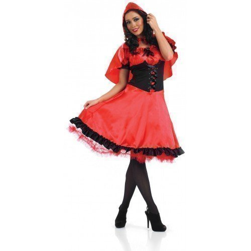 Ladies Longer Length Red Riding Hood Fairy Tale Halloween Fancy Dress Costume Outfit UK 8-26 Plus Size (UK 16-18)]()
