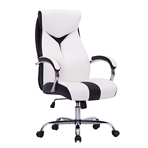 Sidanli High-Back Ergonomic Executive Office Chair, Swivel Pu Desk Chair with Chrome Base,Management Chair with Chrome Armrests for Sturdy Using (White)
