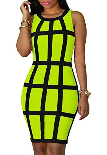 OMZIN Womens Backless Bodycon Bandage Club Plus Size Dress Green XL (Dress Sleeveless Stretch)