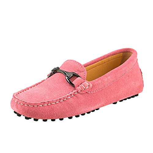 Shenduo Women's Slip on Moccasins Boat Flats Driving Shoes Suede Leather Loafers D7062 Pink