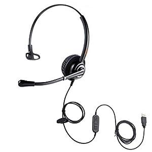 Emaiker One Ear USB Headset avec micro, casque téléphonique pour ordinateur de bureau avec microphone antibruit pour…