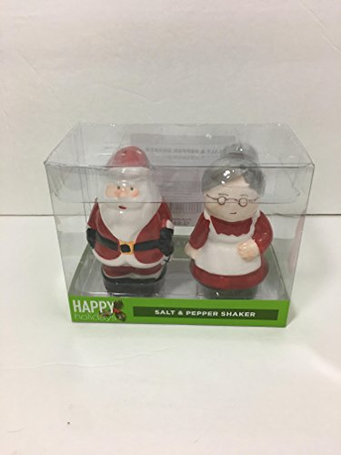 Happy Holidays Mr.and Mrs.Santa Claus Salt and Pepper Set