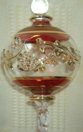 LOT 6 EGYPTIAN HANDMADE CHRISTMAS ORNAMENT GLASS