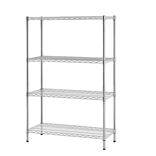 Excel ES-481860C NSF Certified Multi Purpose 4-Tier Wire Shelving Unit, 48 x 18 x 60-Inch, Chrome Tier Shelving Unit