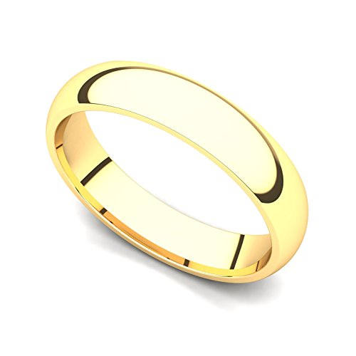 18k Yellow Gold 4mm Classic Plain Comfort Fit Wedding Band Ring, 6.5
