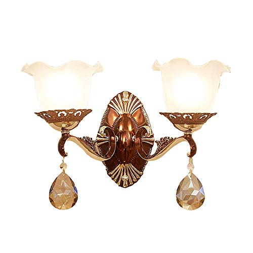 European Double Head (13.77 11.41in) Single Head (6.29 11.41in) Crystal Lamp Luxury Hotel/Living Room TV Background Wall Zinc Alloy Lamp Three Colors (White/Yellow/Neutral Lamp) Wall Lamp