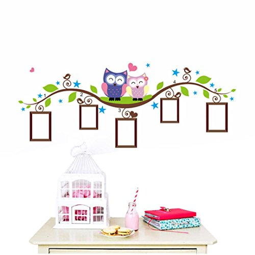 Gbell Couple Owl Family Wall Picture Frame Decal Sticker, Removable Photo Frame for Kids Baby Room,Glass Door,Car Body (Colorful)