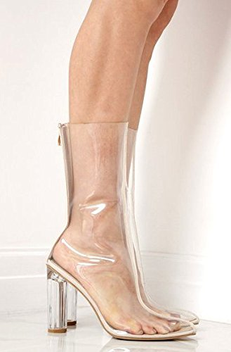 Clear Yeezy Inspired Ankle Perspex Plexi Clear RTB Designer Heel Boots dOpIFd8
